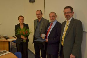 At the Presentation of Faculty of Arts Commemorative medal in 2013. From left to right- Vice-Dean Chamonikolasová, Dean Krob, Professor Sauer and Department Head Jeffrey Vanderziel